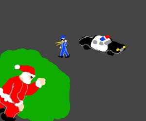 santa hiding from cop behind bush