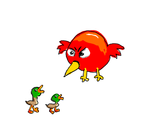 two ducklings observed by angry bird