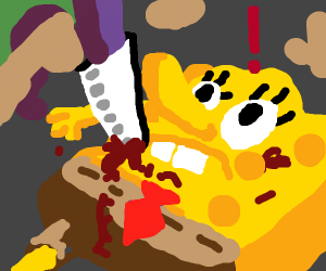 stabbing spongebob with a kitchen knife!