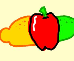 A lemon, an apple, an orange, and a lime.
