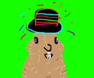 Gopher wearing a multicolored neon top hat