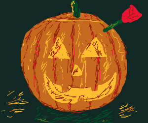 Jack'o'Lantern with a red arrow in its head