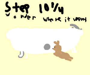 Step 10 & a half: follow the bathtub rabbit