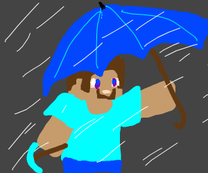 steve with umbrella