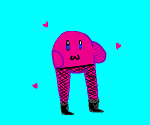 sexy kirby with fishnet stockings+boots. wow.