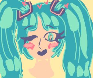 blushing hatsune miku