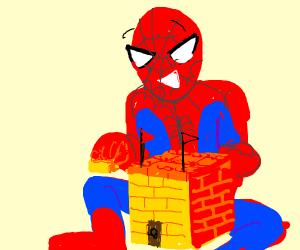 Spiderman building a lego castle