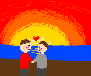 Two guys hugging by the sea