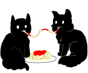 Two Maine Coons sharing spaghetti