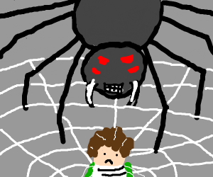 Shelob catches a hobbit in her web.  Scary!