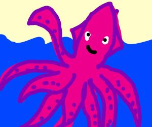 happy kraken in the sea waving
