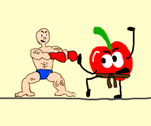 A fighter battles with a cherry