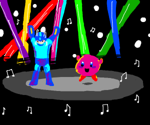 blue man raves with kirby