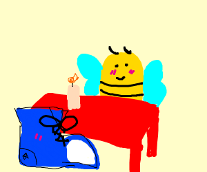 Bee on a date with a shoe.