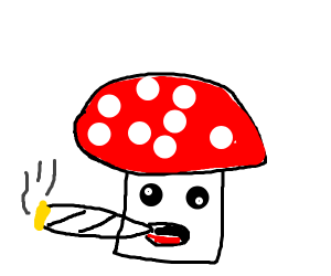 Mushroom smoking some pot