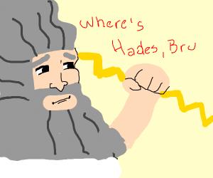 Zeus looking for Hades