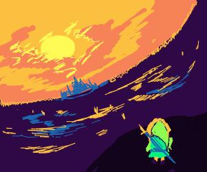 Link lookin at the sun set over hyrule castle