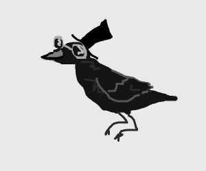 crow wearing a top hat and sunglasses