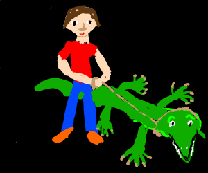 A man and his pet crocodile