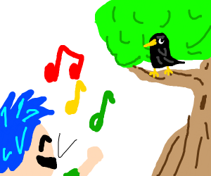 Blue haired dude sings to a crow