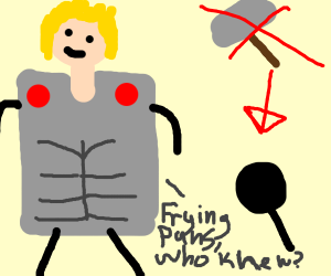 Thor replaces hammer with fryingpan