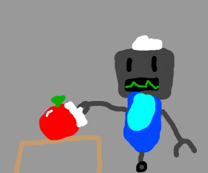 A robot maid polishing/dusting a tomato