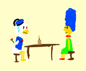 Donald Duck dates Marge Simpson