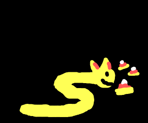 Pizza snake eat candy corn nom nom
