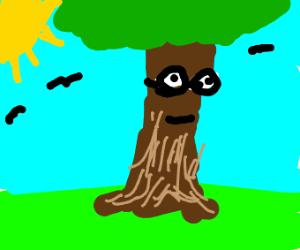 tree with nerd glasses