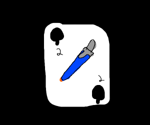 ball point pen dressed as 2 of spades card