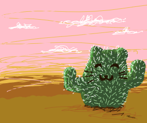 cactus with a kitty on it