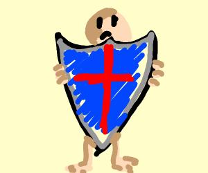 Man hides behind big shield