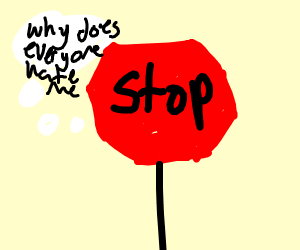 red sign thinks