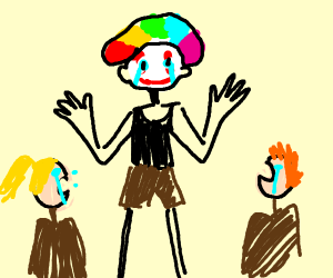 Clown and children crying