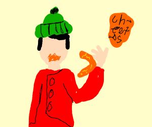 Monkey eating Cheetos