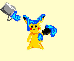 Someone got blue paint all over the Pikachu!