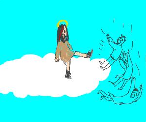 emo jesus kicks people out of heaven