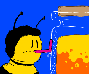 Bee fromn the movie licks honey