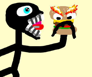 A stickman eating an angry burger