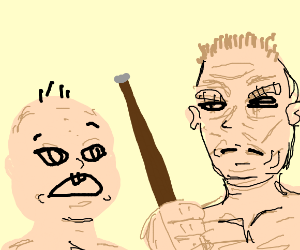 scared baby to angry old man with a cane