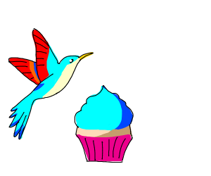 Hummingbird with a Cupcake