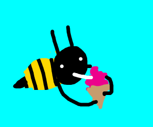 Bees enjoying an ice cream cone