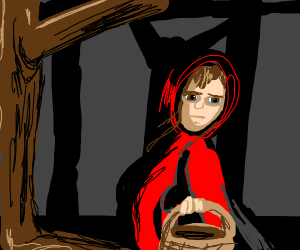 Lil' Red riding hood in a dark forest