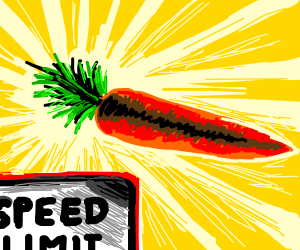 A carrot moving very fast