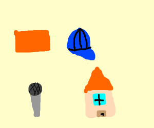 brick, cap, microphone, house