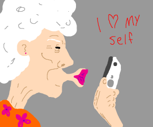 Old lady tried to kiss her selfie
