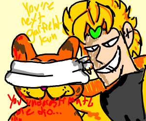 DIO tells blindfolded Garfield that he's next