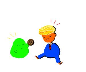 blob gives donald trump a coconut