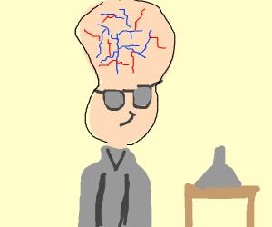 Scientist with huge brain