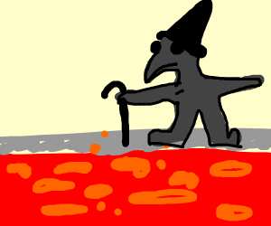 Plague Doctor Scarecrow over Lava